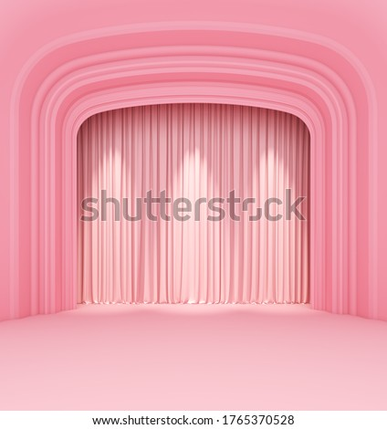 empty theater stage curtains show spotlight arches pink pastel. display showtime festival background . element object with clipping path. 3D Illustration. Stock photo ©