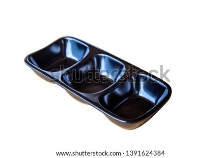 Empty three pot bowl of black sauce container or food container isolated on white background with pen tool clipping path