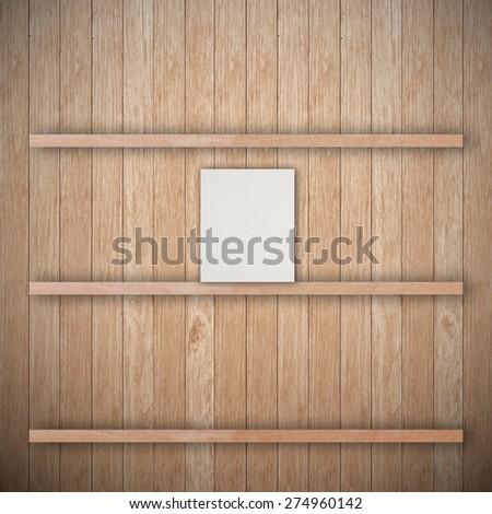 Empty three wood shelf and empty paper