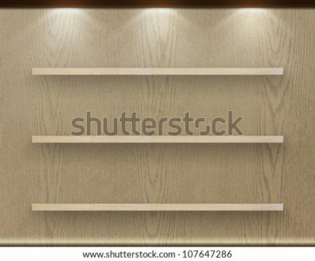 Empty three wood shelf on wood decorative wall, Industrial interior.