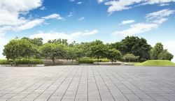 Empty tiles at the nice and peaceful comfortable great garden panorama