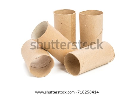 Empty toilet paper on white background