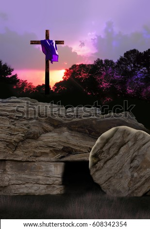 Empty Tomb and Cross with Purple Garment