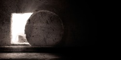 Empty Tomb: Details of Jesus Christ's Resurrection : Surrealism Background : Easter Day