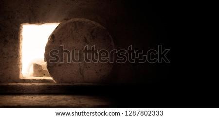 Empty Tomb: Details of Jesus Christ's Resurrection : Surrealism Background : Easter Day ストックフォト ©