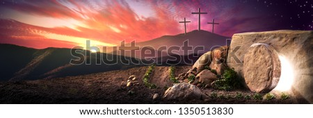 Empty Tomb Of Jesus Christ At Sunrise With Three Crosses In The Distance - Resurrection Concept