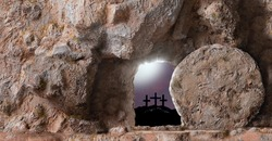 Empty Tomb, open Door And Three Crosses In The Distance on sunset sky background with copy space for inscription.  Christian Easter concept.