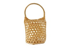 Empty traditional style basket made from bamboo isolated on white background  with clipping path