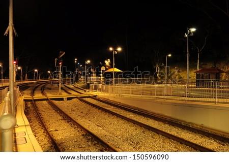 Empty Train Station at Night. Railways.