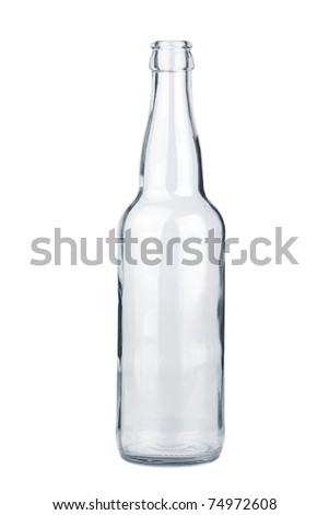 Empty transparent beer bottle  isolated on the white background - stock photo