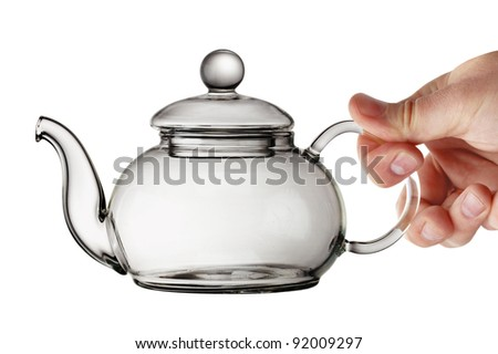 Empty Transparent Glass Teapot
