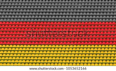 Empty tribunes of the football stadium.  Colors of the German flag.