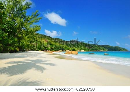 Empty tropical beach on Seychelles islands, Praslin, Anse Lazio