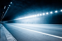 empty tunnel, blue toned image.