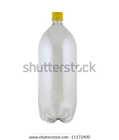 empty two liter bottle on white