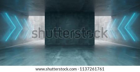 Empty Underground Concrete Corridor Room With Arrow Neon Blue Glowing Signs  3D Rendering Illustration