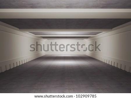 empty underground floor with balks, warehouse space - 3d illustration