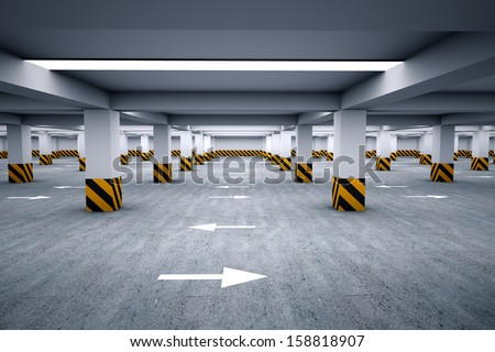 Empty underground parking area