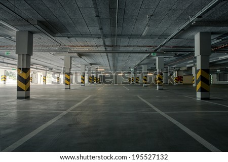 Empty underground parking background with copy space #195527132