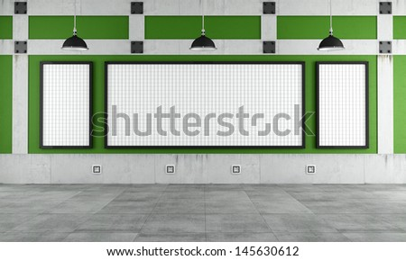 Empty university classroom with three white  board - rendering