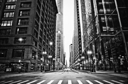 Empty Urban City Street View Black and White on Cloudy Foggy Day of Chicago Skyline with No People or Cars