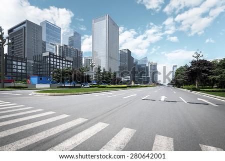 Shutterstock Empty urban road and modern skyline