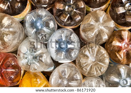 empty used plastic bottles, rear view background