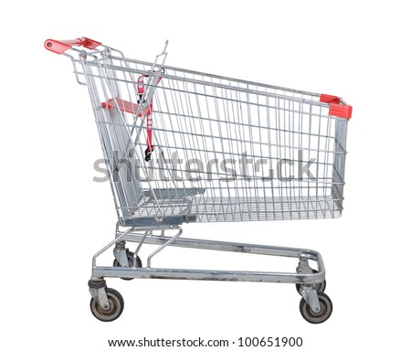 Empty used shopping trolley isolated on white background