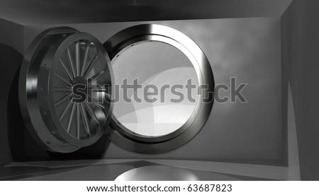 Empty vault with open door, 3D render