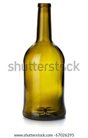 Empty vintage bottle. Isolated on white background