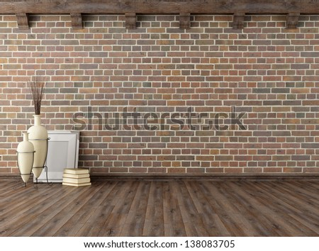 empty vintage interior with brick wall and wooden ceiling beams - rendering