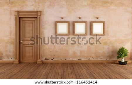 Empty vintage interior with wooden door and empty frame - rendering