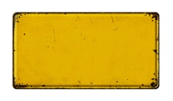 Empty vintage metal sign on a white background