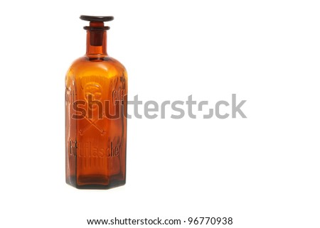 Empty vintage poison bottle with the skull and bones symbol