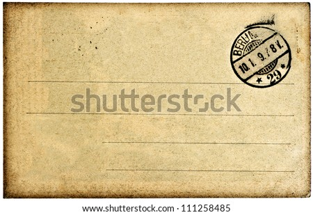 empty vintage postcard background with post stamp