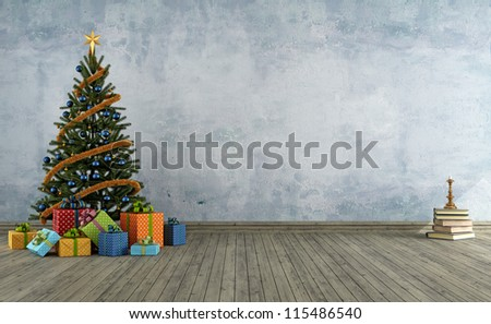 empty vintage room with christmas tree and colorful gift - rendering