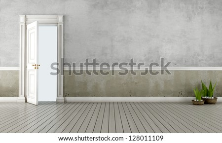Empty vintage room with open old door - rendering
