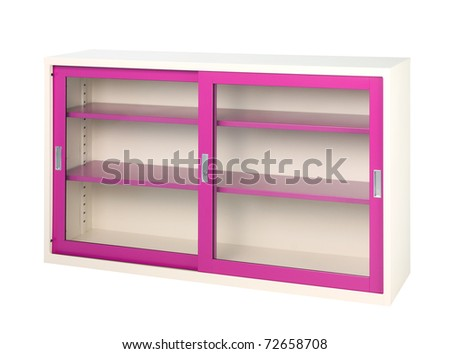 Empty violet closet with sliding doors isolated on white
