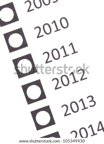 Empty voting form (date), isolated on white