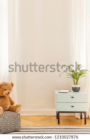 Empty wall in a teenager room interior with a cabinet, plant and teddy bear. Place your poster #1210027876