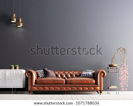 empty wall in classical style interior with leather sofa on grey background wall. 3d rendering
