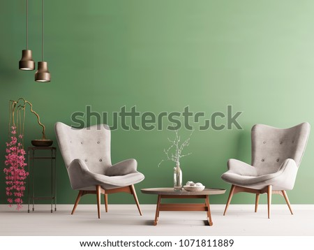 Empty wall in pastel modern interior with green wall, soft armchairs, plant and lamps. 3d rendering