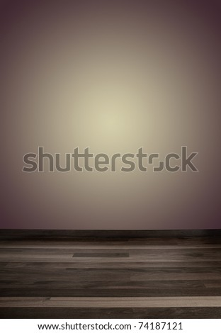 Empty wall with a spot light and wooden floor, ideal for fashion photography background