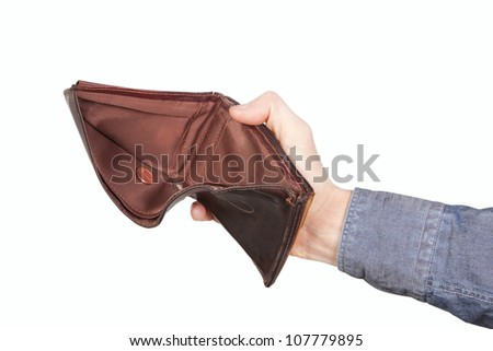 Empty wallet and a centime. On a white background.