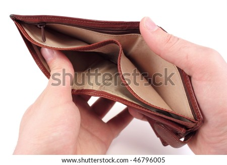 Empty wallet isolated on white. Bankruptcy concept.