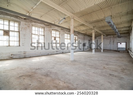 Empty warehouse office or commercial area, industrial background stock photo