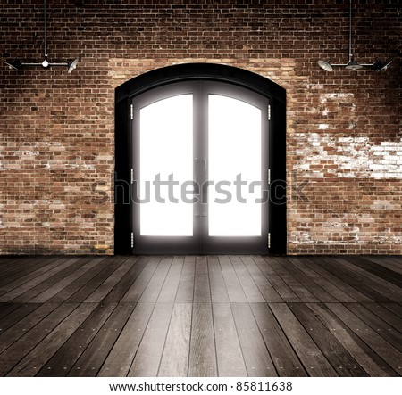 Empty warehouse with entrance.