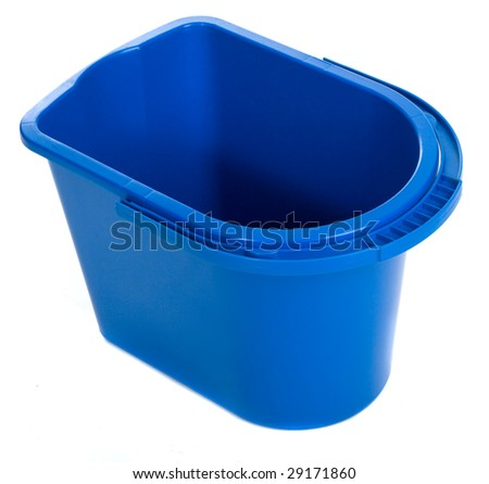 Empty water bucket isolated on white background