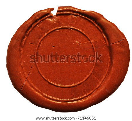Empty wax seal  on white