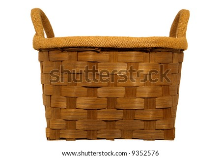 Empty weaved rustic wood basket with burlap liner isolated on white